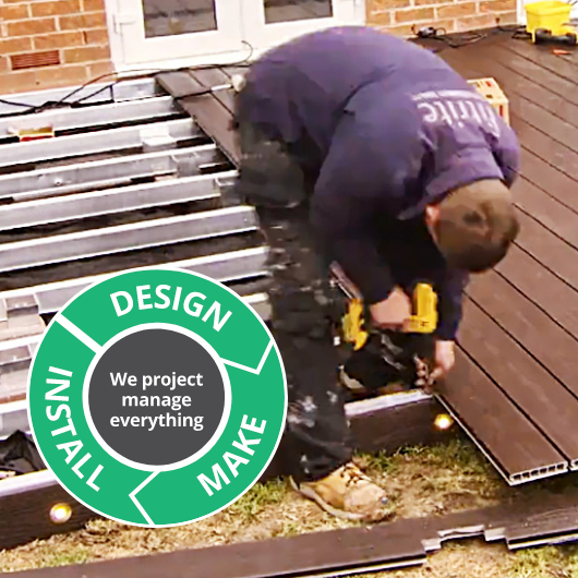 Professionally installed for you by our expert team  Our dedicated team are clean, safe, reliable and smart and will do everything possible to minimise disruption whilst working at your home. To ensure we can work cleanly and safely whilst cutting materials to create your bespoke deck we will set up our own portable work area on site.