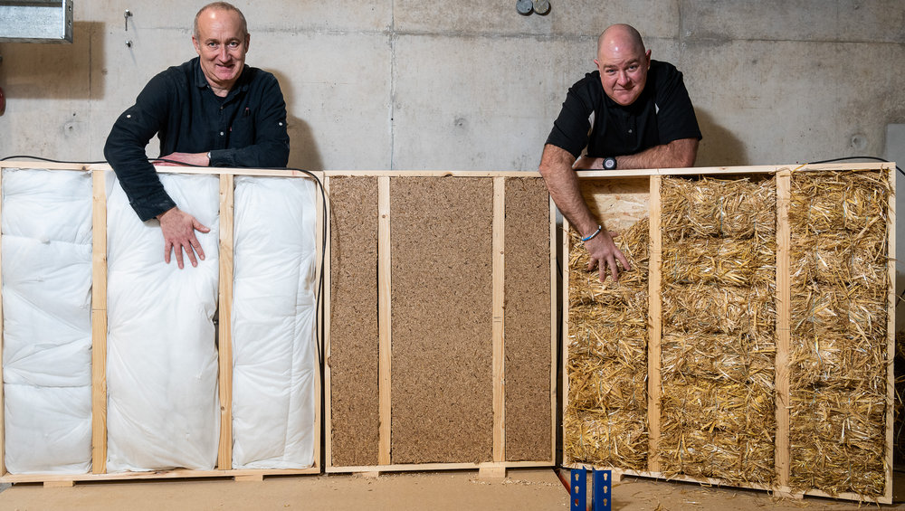 Professor Pete Walker (left) and Dr Shawn Platt (right) from the University are Bath are testing a number of waste materials to assess their thermal performance as potential materials for insulating buildings.