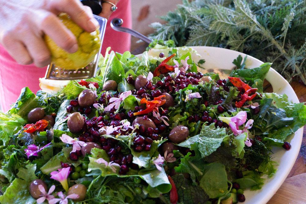 spring inspired plant-based raw vegan salad