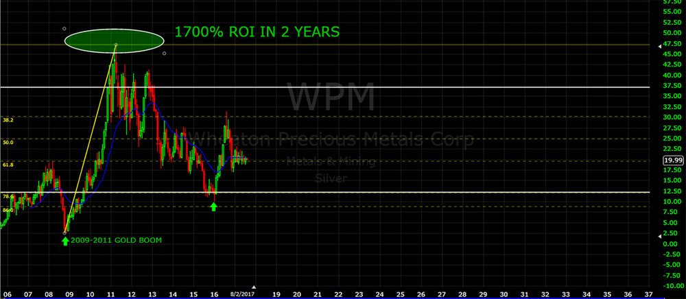 What you see above is a chart from WPM, a major silver producer. During the last 2009-2011 gold spike this stock went from $2.40/share to a high of $47.50. In other words, its value increased 17 TIMES providing investors with an ROI of 1700%. That means if you had invested $10,000 in WPM, your return would have been $170,000.00. IN JUST TWO YEARS!