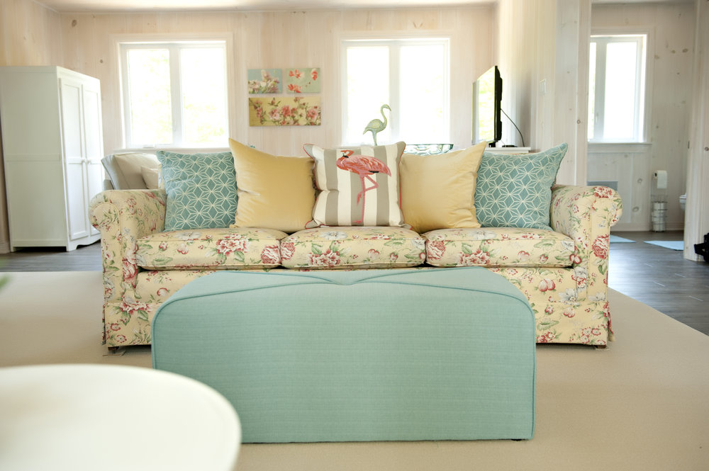 Candace-Plotz-Design-Beach-House-1-Project-Sofa-Yellow-Floral-Flamingo-Cushion