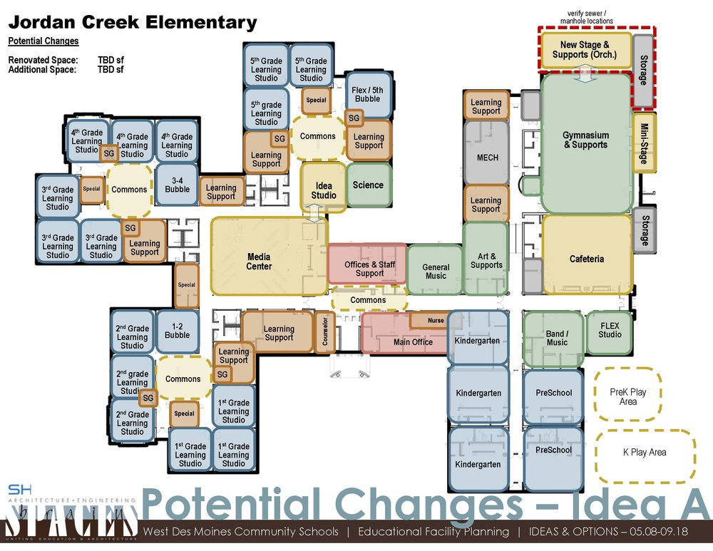 POTENTIAL CHANGES (A&B)  This graphic outlines options for reconfiguring current space and creating additions to the building to accommodate current and future needs.   Click on the graphic to view full image of version A.     VIEW VERSION B