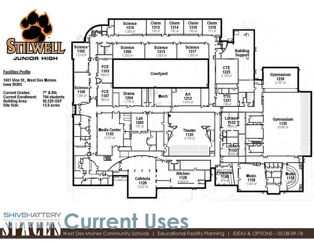 CURRENT USE DIAGRAM-Floor 1  This graphic indicates how each space is currently utilized seventh and eighth grade in the building.   Click on the graphic to view full image.