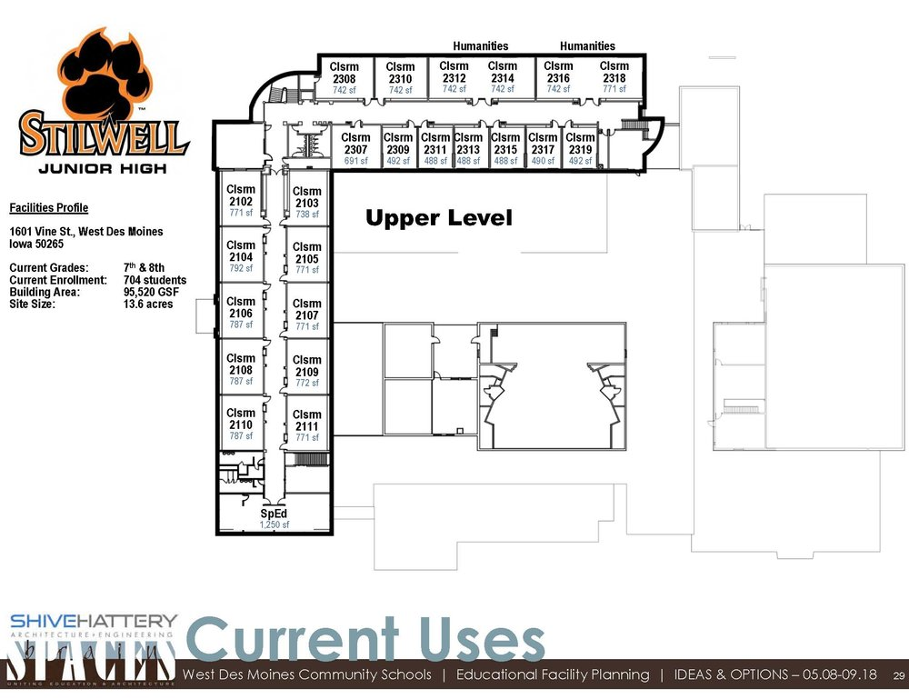 CURRENT USE DIAGRAM-Floor 2  This graphic indicates how each space is currently utilized seventh and eighth grade in the building.   Click on the graphic to view full image.