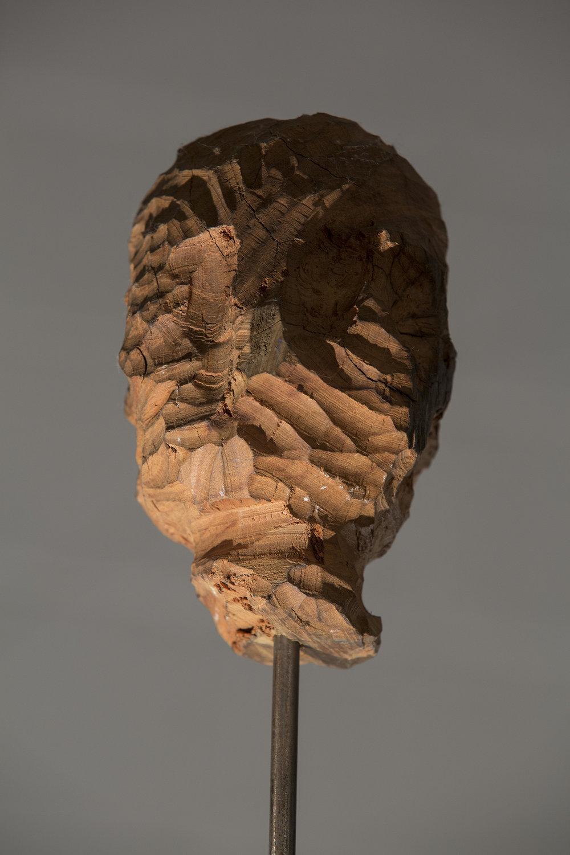 Detalhe da Instalação, 2015, Tripé feito de tubos de ferro soldados, hastes de ferro e escultura em madeira