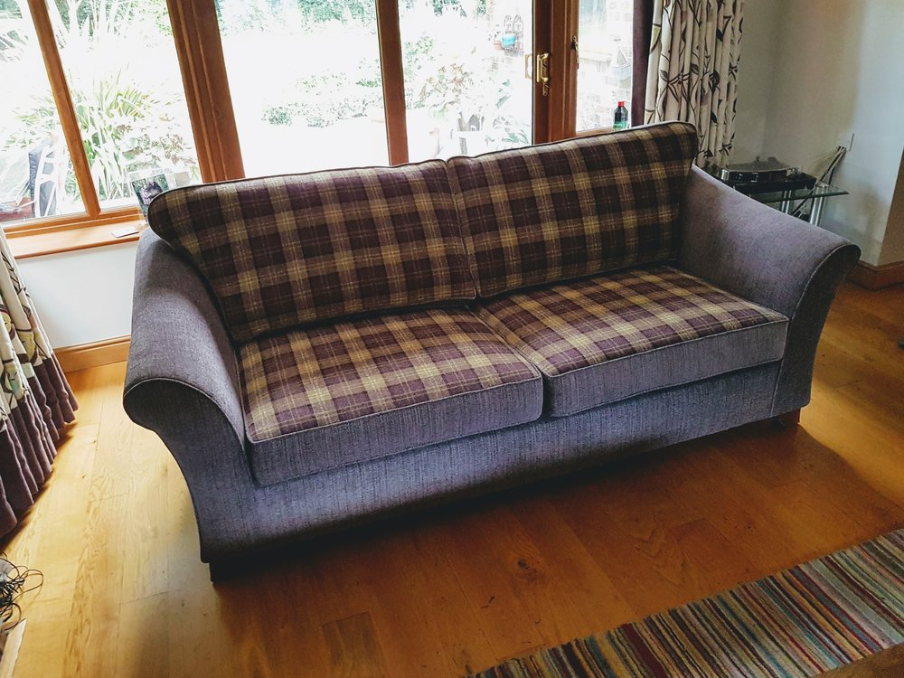 Leather to Fabric Sofa - After
