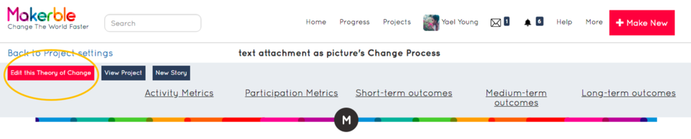 - 4. You will arrive on the Manage theory of change page5. Press the Edit theory of change button as highlighted