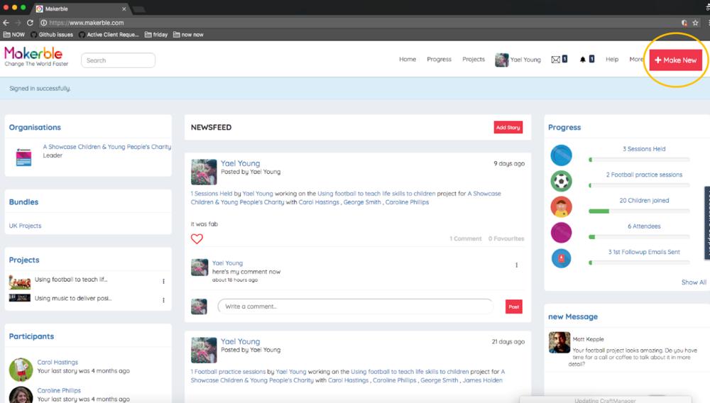 - 1. Click 'Make New'.as circled2. Once the sub-menu opens for Make New, click 'Make A Story'