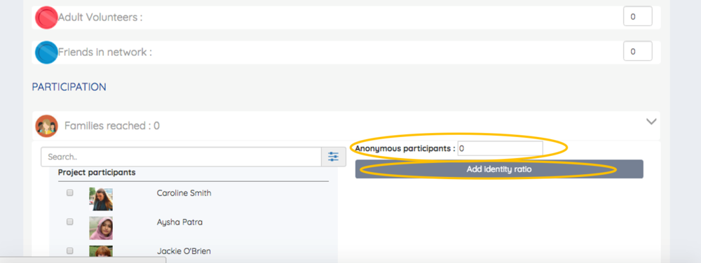 - 6.If you want to add details about anonymous participants enter how many anonymous participants there were in the box circled.Click 'Add Identity Ratio'as demonstrated and select from the options which ratios you want to use. For example the gender split or age split