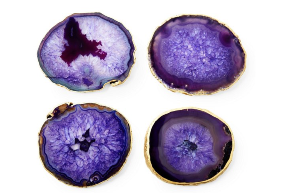 S:4 Gold-Rimmed Agate Coasters, Purple.png