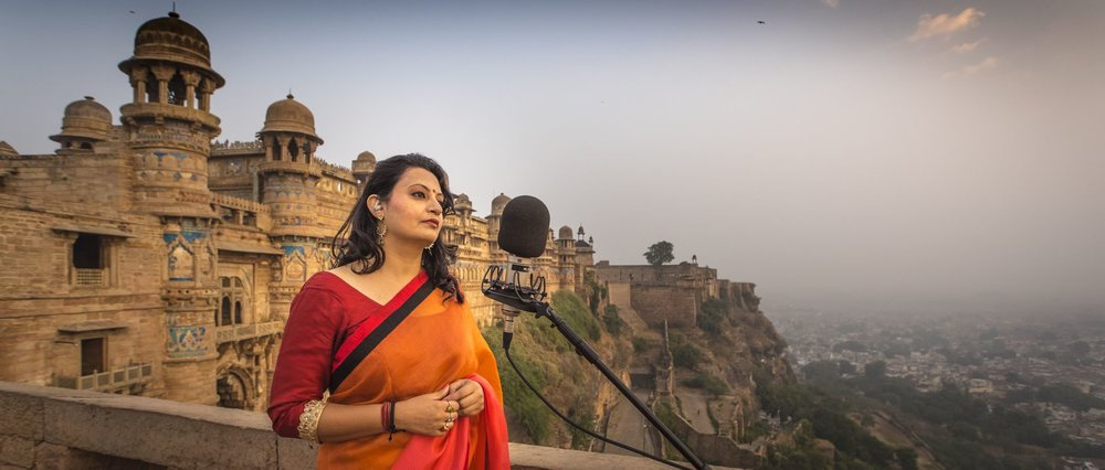 Meeta Pandit recording in Gwalior, India