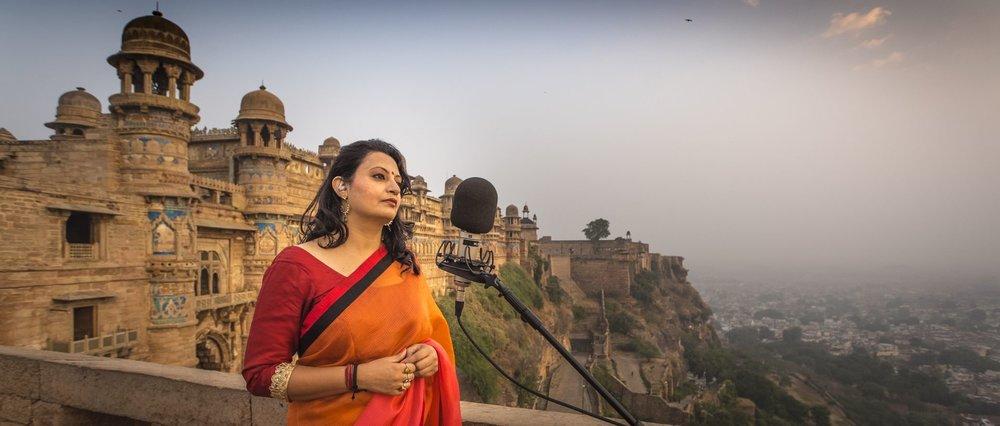Meeta Pandit recording in Gwalior, India
