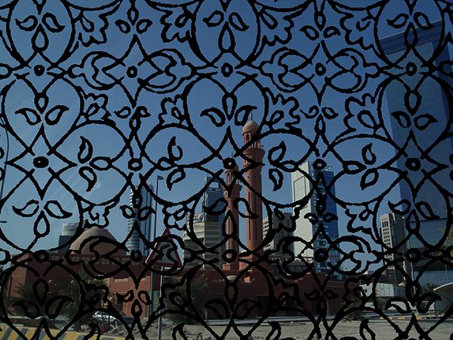 Mezquita y Kuwait , 2016  Fotografía Digital Intervenida  Impresa en Acrílico Por Emulsión  30 x 40 cm  Impresa en C-Print con Papel Metálico  29.8 x 40 cm