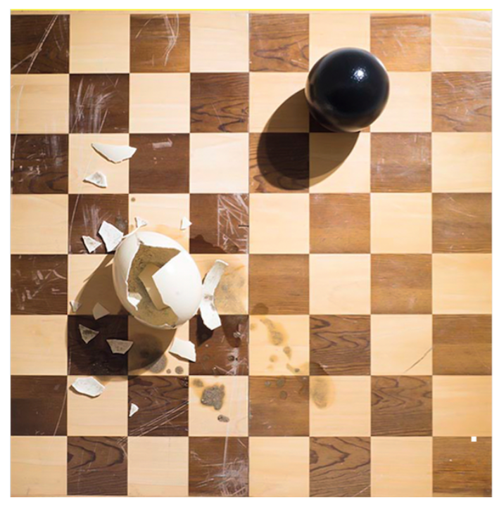 Checkmate, 2015  Mixed media: chess and egg shells.  75 x 75 x 21 cm