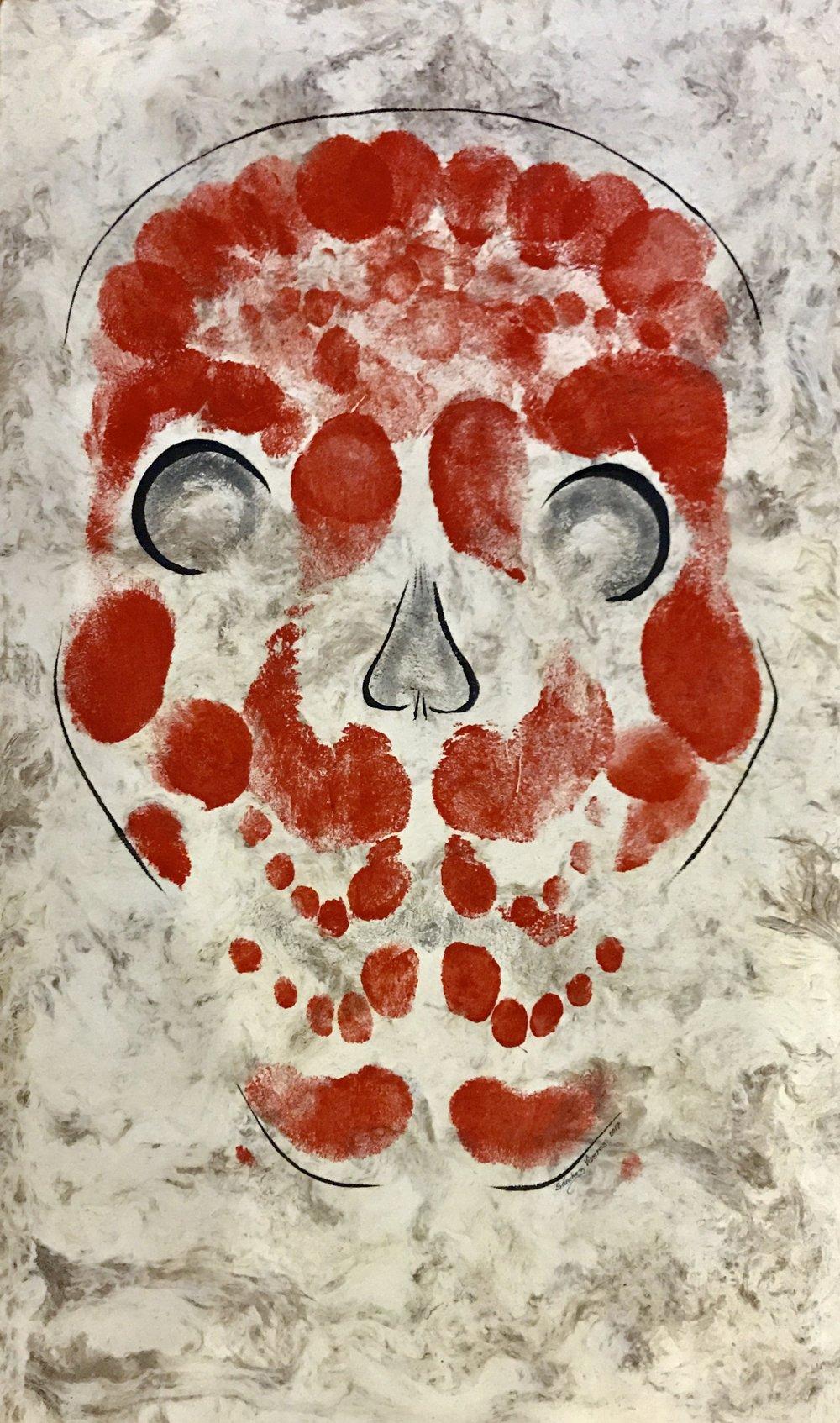 Calapatas , 2017  Pintura Corporal Acrílica sobre Papel Amate  70.5 x 40.5 cm