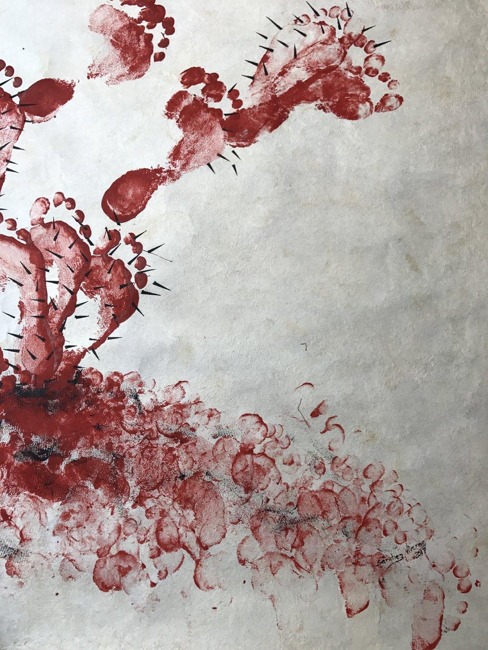 Copil , 2017  Estampado Corporal con Pintura Acrílica Sobre Papel Amate  241 x 120 cm