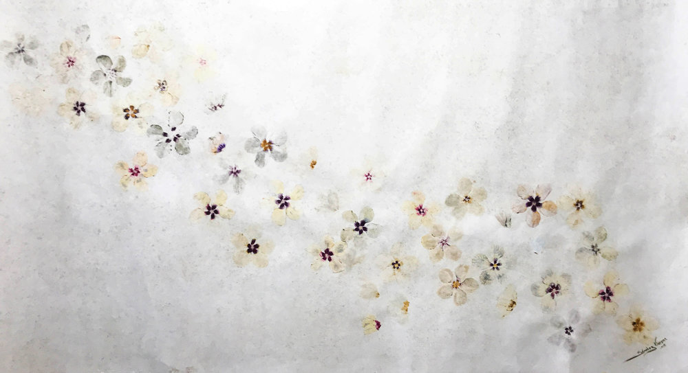 Pigmentación Básica , 2018  Impresión con Pigmentos Florales sobre Papel Amate de Fabricación Artesanal.  120 x 220 cm