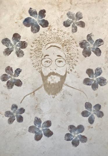 San Gabriel , 2018  Impresión con Pigmentos Florales sobre Papel Amate de Fabricación Artesanal  90 x 60 cm