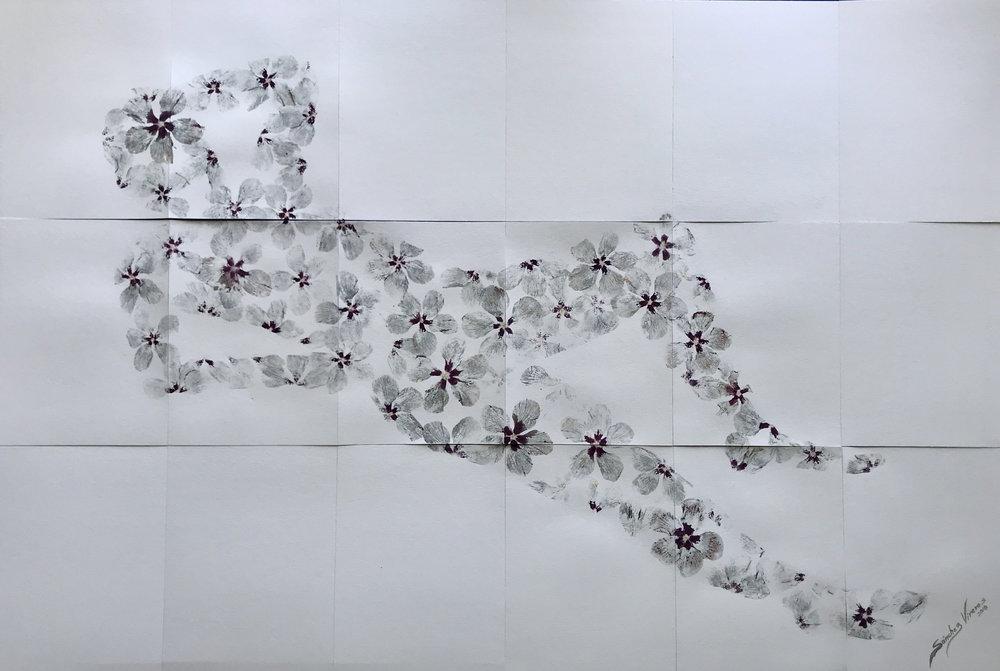 Flower Power , 2018  Impresión con Pigmentos Naturales Sobre Papel Amate de Fabricación Artesanal.  120 x 180 cm (18 piezas de papel algodón de 40 x 30 cms c/u. 425 gms/m2)