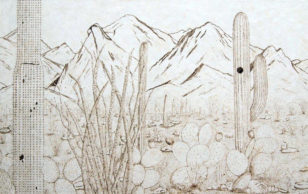 Belleza del noroeste , 2015  Técnica mixta: caligrafía en pirograbado sobre papel amate de fabricación artesanal  122 x 190 cm
