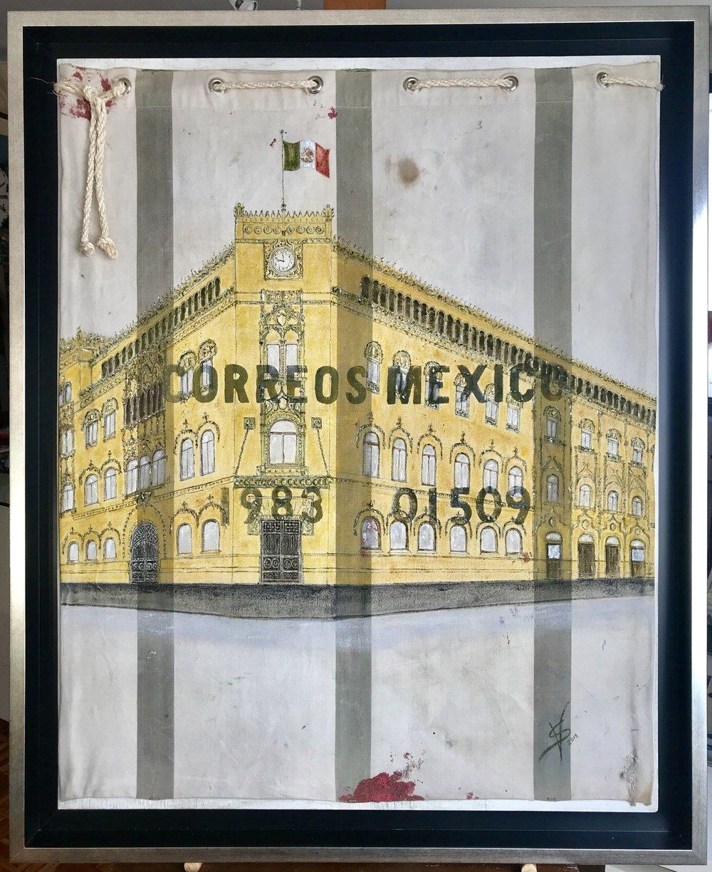 El Palacio Postal,  2018  Técnica mixta: óleo sobre costal de lona de algodón con marcas de uso por Correos de México, usado como lienzo sobre triplay de madera.  100 x 80 cm