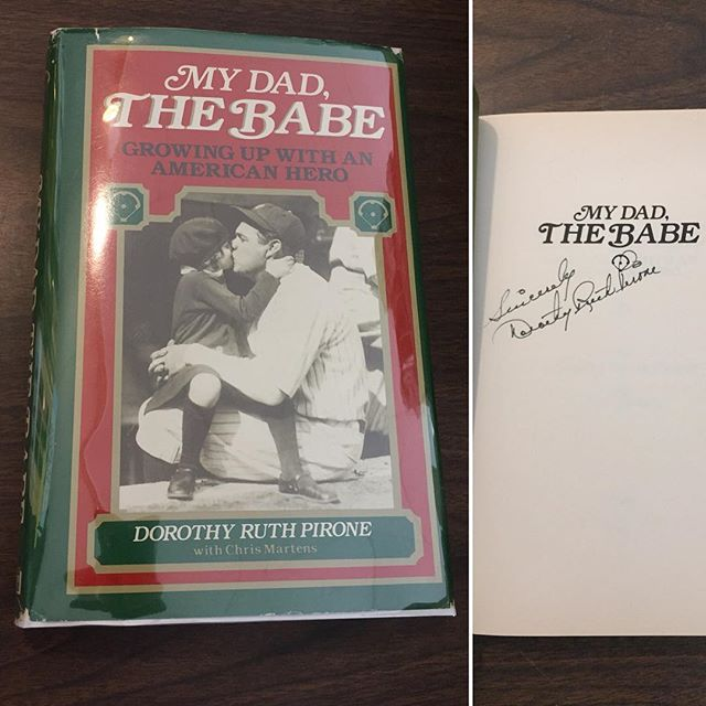 """As well as Babe Ruth's signed autobiography, we now have a #signed #firstedition copy of Dorathy Ruth Pirone's book about her father, """"THE BABE"""". $175- // Link in Profile"""