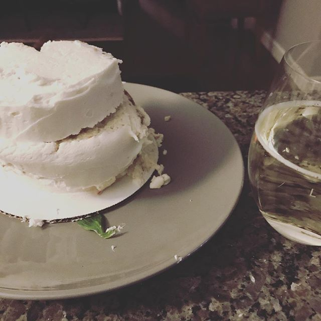 My perfect 4 inch birthday cake with a perfect glass of Portuguese vino - thanks @ashleysuesbakedgoods it doesn't effing matter if it fell over - life tastes better a little crooked. 🙌