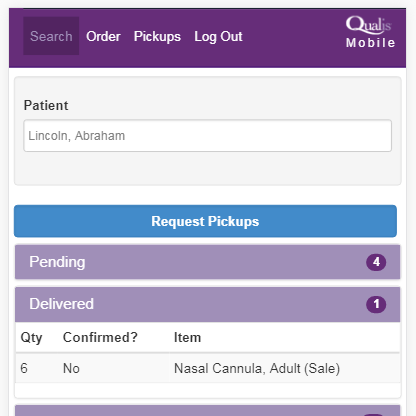 Feature 2 - Equipment will be picked up automatically at the time of a patient discharge. Prior to discharge, it is easy to request new equipment or pick-ups. In real-time, you can see a delivery or a pick-up confirmed.
