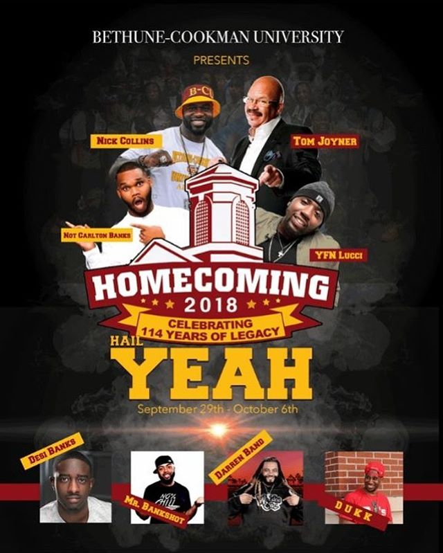 The best Homecoming in the land is officially two weeks away! This year's homecoming special guests include, Tom Joyner, YFN Lucci, Not Carlton Banks, Nick Collins, Desi Banks, Mr. Bankshot, Darren Band, and Dukk. Visit www.thewildcatden.net for your tickets today. #HailYeah #bcuexperience