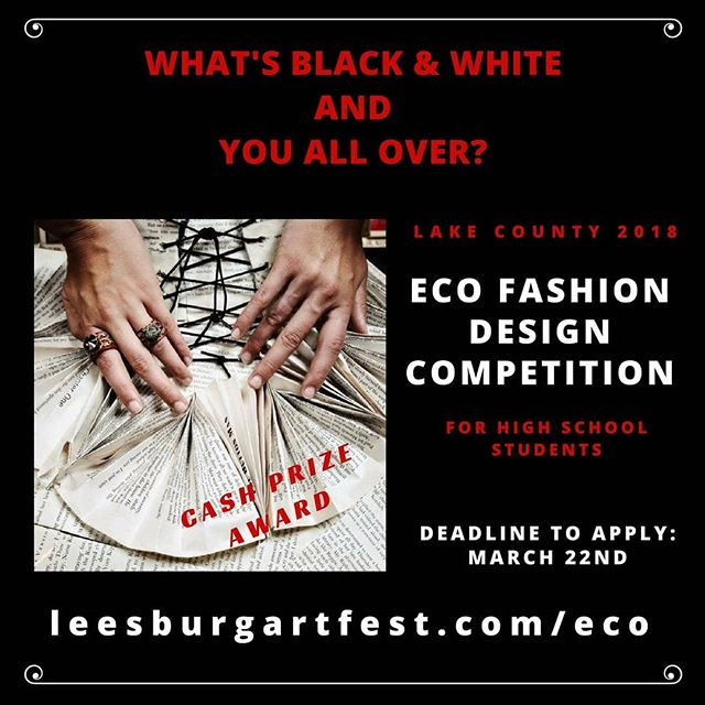Calling all Student Fashion Designers and Costume Designers for our Lake County Eco Fashion Competition! Only one award will be awarded BEST of SHOW $250.00! Cash money! @lakecountyschools @lakecountyflorida @melonpatchplayers @thesharonperformingarts @lssc_yod @clermontpac @moonlightplayers @baystreetplayers @lakestylemagazine #Ecofashion #costumes #cosplay #upcycledclothing #fashionshow #student #designers