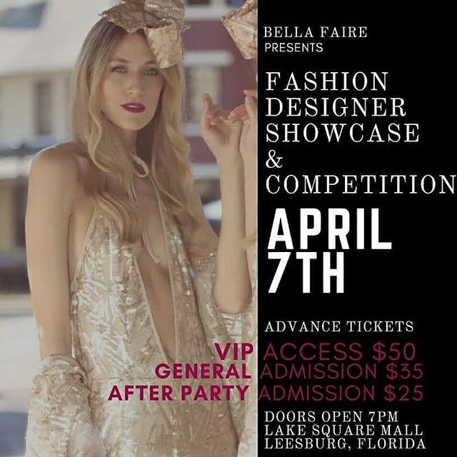 We are super stoked to partner with @bellafaire5657 to bring to you a high energy fashion designer competition featuring @innasdesigns, @jcaguaswim, Audrey McGhee and Takayah Noriis and a pop up art show with regional artists Crystal Dombrosky, @healingpixie , @photoasylum and @art_by_ish hosted in the new Lake Square Mall. Reserve your seats today!  www.bellafaireplanners.com/fashion-designer-showcase or purchase tickets at the Lake Square Mall office. #orlandofashion #floridafashion #fashionista #iloveclothes #fiberart #Arthappenshere #smalltownmagic #leesburgarts @visitlakefl @cityofleesburgflorida @orlandofashionmagazine @orlandofashiondistrict @dailycommercial @orlandosentinel @thevillagesfl