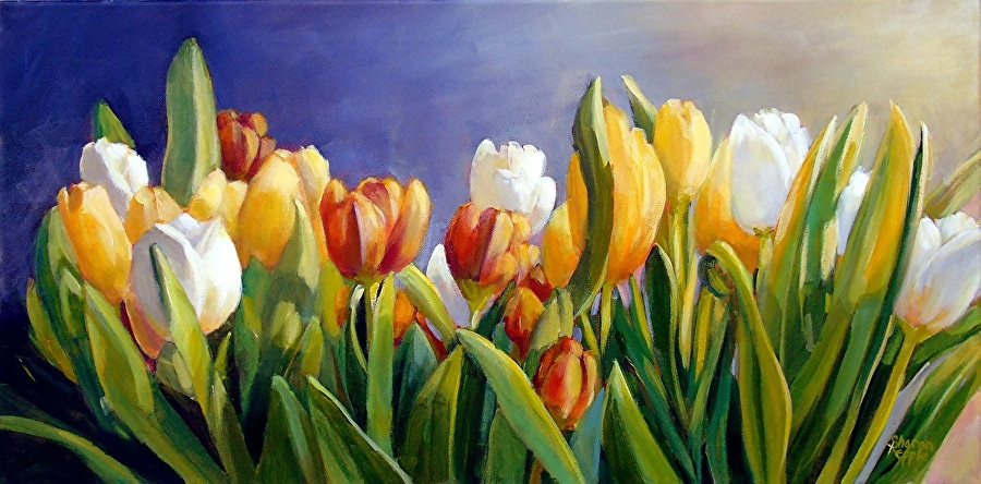 SHADES OF TULIPS - WITH SHARON REPPLESharon Repple will instruct with acrylics on how to paint stunning vibrant tulips, give composition tips and teach how to use a limited acrylic palette. Beginner and Intermediate levels are welcome. Learn to mix and shade colors to create a beautiful cheerful canvas Supply list included.THURSDAY OCTOBER 11th 10 AM - 4 PM$45 MEMBER $60 NON MEMBER