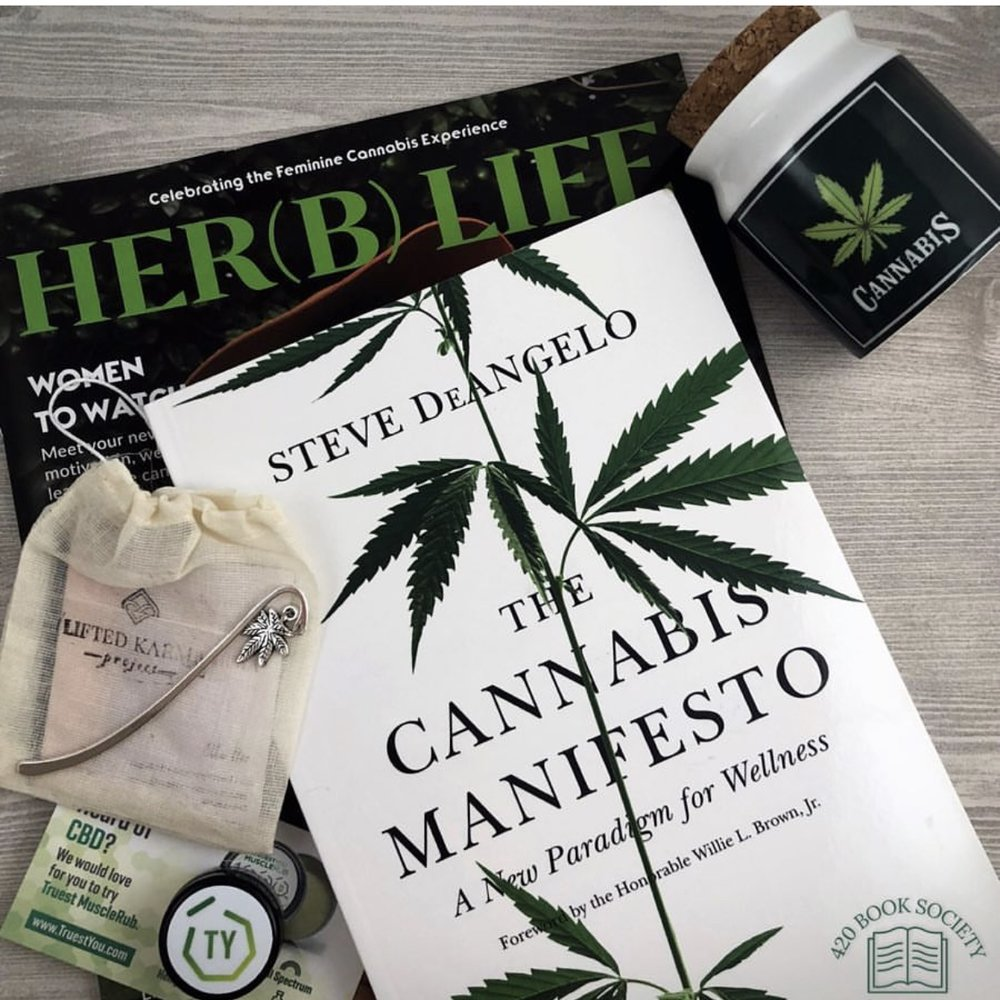 "July 2018      July's membership features, ""The Cannabis Manifesto"" by Steve DeAngelo.    The Cannabis Manifesto presents a compelling case for cannabis as a wellness catalyst that must be legalized. Steve's view that there is no such thing as recreational cannabis use challenges readers to rethink everything they thought they knew about marijuana! Also included in this month's subscription is an exclusive cannabis metal hook bookmark by ""The Lifted Karma Project"", ceramic medical marijuana prescription stash jar, plus a few surprises!  Steve DeAngelo is a national cannabis leader, activist, advocate, entrepreneur, educator and has founded many successful socially responsible ventures including Harborside Health Center, the largest medical marijuana dispensary in the world. His lifetime of activism and extensive knowledge has made him one of the most respected speakers in the cannabis and hemp industries. Steve has been featured by The New York Times, The Wall Street Journal, CNN and literally every major network news source in the country. For more information visit  www.stevedeangelo.com"