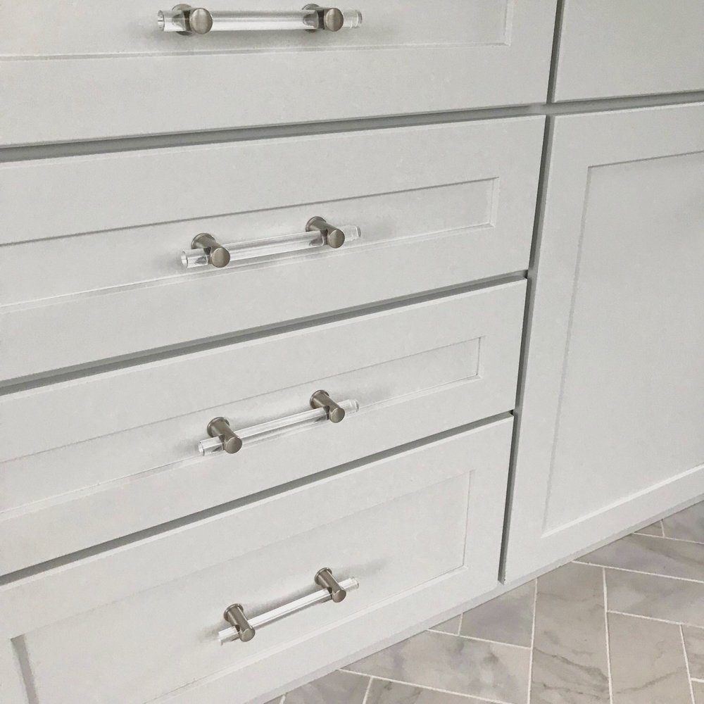 The pieces that make up these knobs and handles can be moved to create various looks before attaching them to the cabinetry.