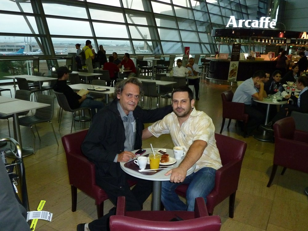Travelling with  Roland Dyens  and having coffee on his birthday at Ben Gurion airport, Israel, October 2011