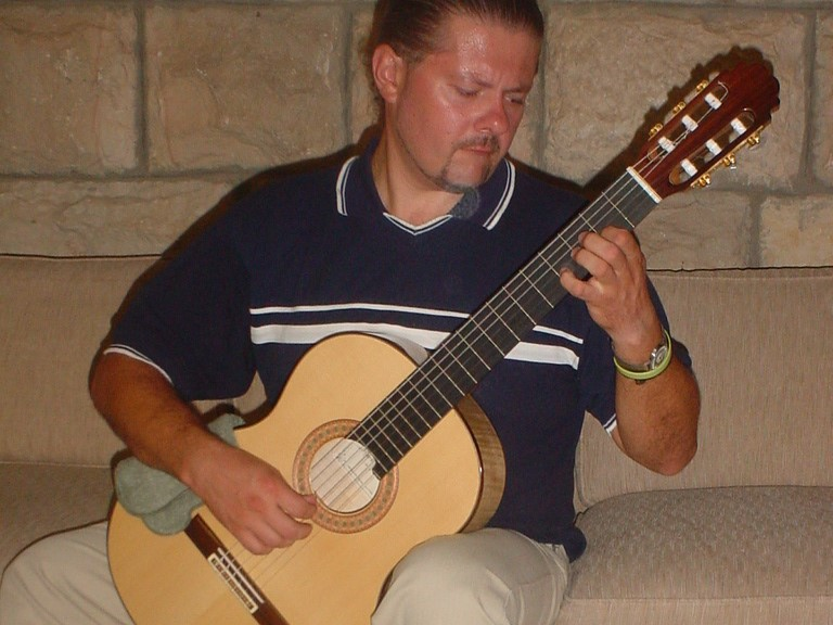 "Alexei Belousov  playing Spruce/Bosnian Maple Traditional ""Signature"" Classical guitar, Jerusalem, Israel, 2007"
