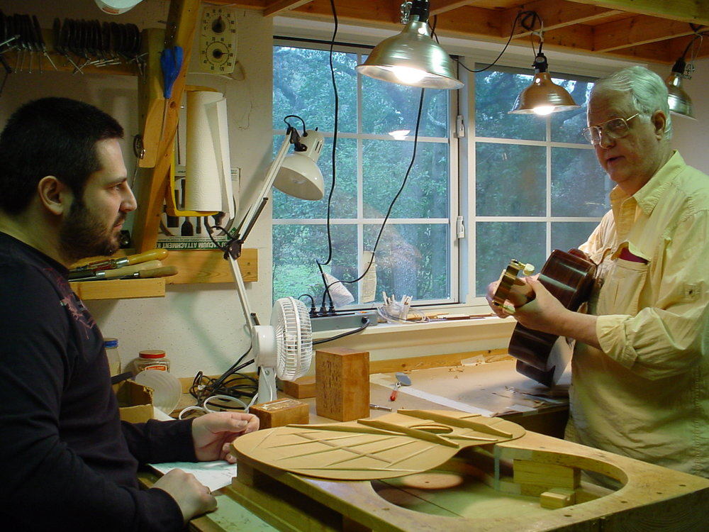 """Legendary (truly """"Guitar Einstein"""")  Tom Blackshear in his workshop in San Antonio, TX, 2009, where I spent many days studying with him and understanding physics and mechanics of guitar"""
