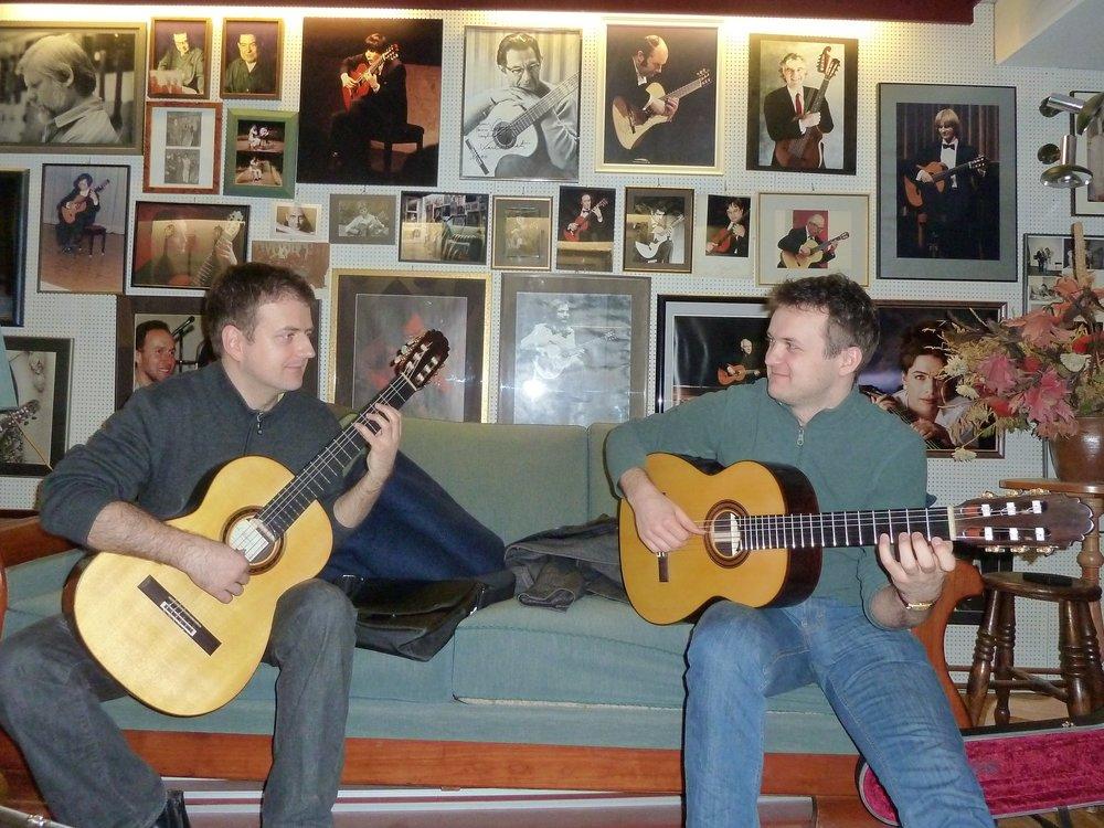 "Goran Krivokapic and  Vladimir Gorbach  both jamming on Spruce/Rosewood ""Signature"" models, Cologne, Germany, 2012"