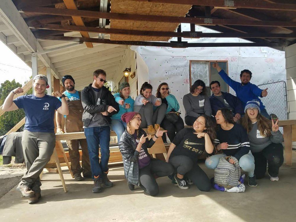 Alternative spring break  For two years now our Hillel has a tradition of participating in Alternative Spring Break (ASB). In 2018 we went to Portland, Oregon and worked with Habitat for Humanity. There we worked in the ReStore - a discount furniture store owned by Habitat for Humanity, with 100% of proceeds going to upkeep of the store and to buy building materials for families in need. We also helped work on a house that was in need of repair. Students learned about the values of community, tikkun olam, and donating time to a worthy cause. We look forward to next year!