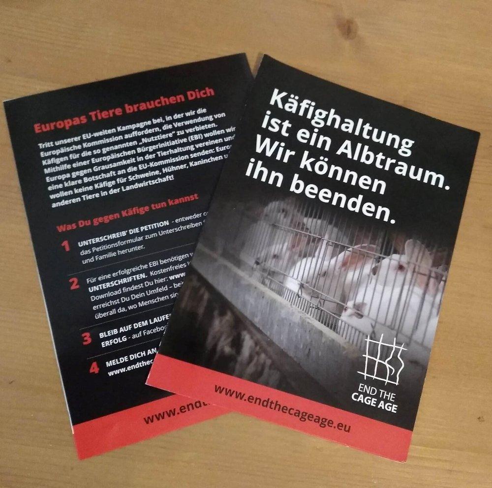 Wir unterstützen die Europäische Bürgerinitiative 'End the Cage Age'. -