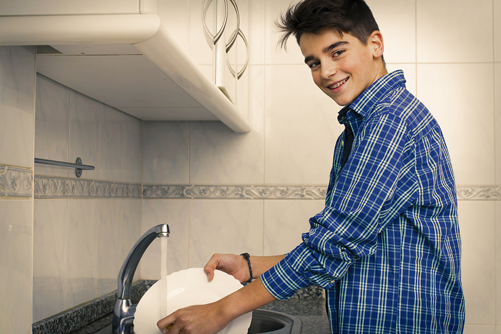 Learning in Functional Environments - Teen with Autism Washing Dishes