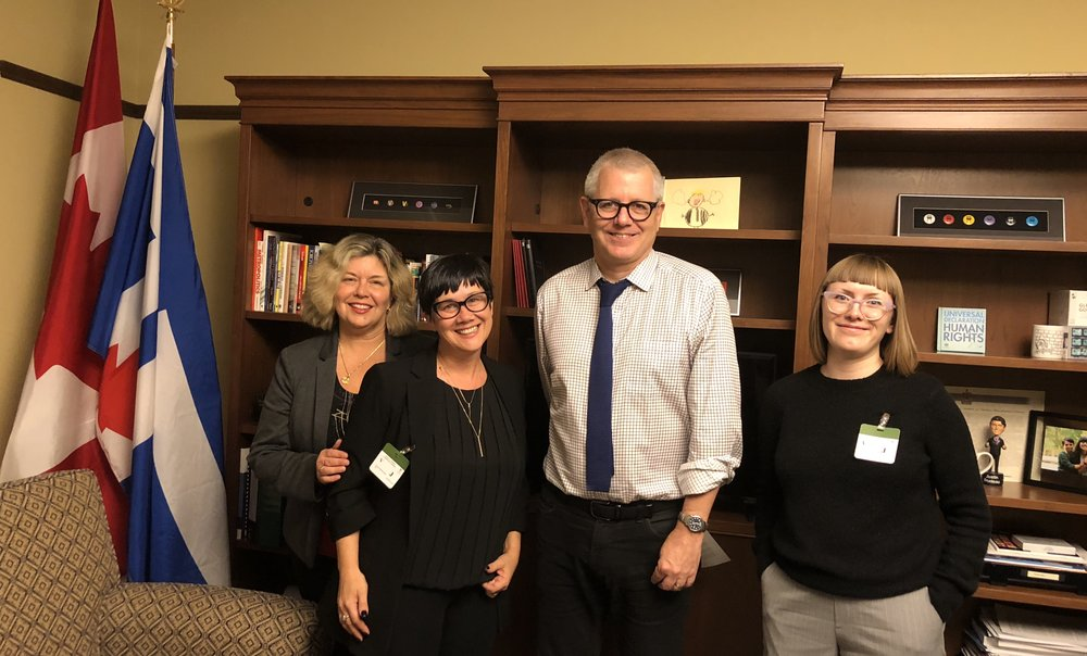 Erin Ingard Rau, Cathy Murphy, and Nicole Fice with Spadina — Fort York MP Adam Vaughn