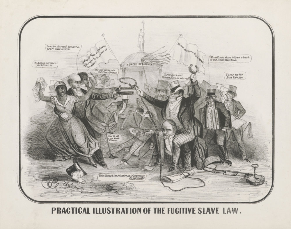 Practical Illustration of the Fugitive Slave Law , 1851, a satirical cartoon capturing the hostility between Northern abolitionists, portrayed on the left, and supporters of the Fugitive Slave Act, on the right, including Secretary of State Daniel Webster, who bears a slave catcher on his back. Prints and Photographs Division, Library of Congress, Washington, DC.