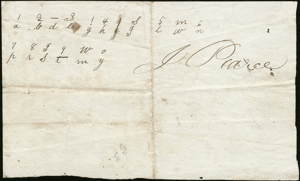 Back of Signed Underground Railroad Pledge has a code and the signature of J. Pearce.  Indiana Historical Society, M0199