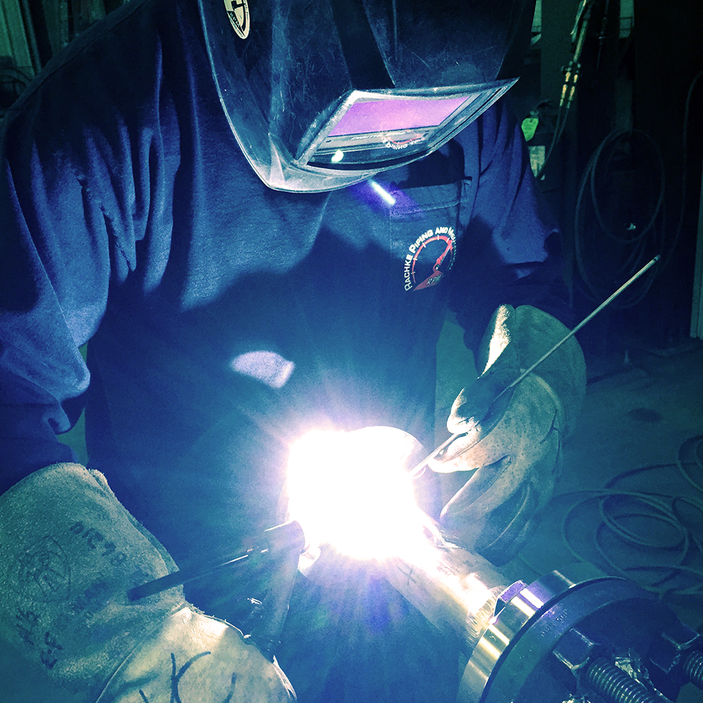 TIG (Tungsten Inert Gas) is used to weld steel, stainless steel, steel alloys, and titanium alloys. TIG uses a gas called Argon to shield the welding arc on the work surface to create a clean, high quality weld.
