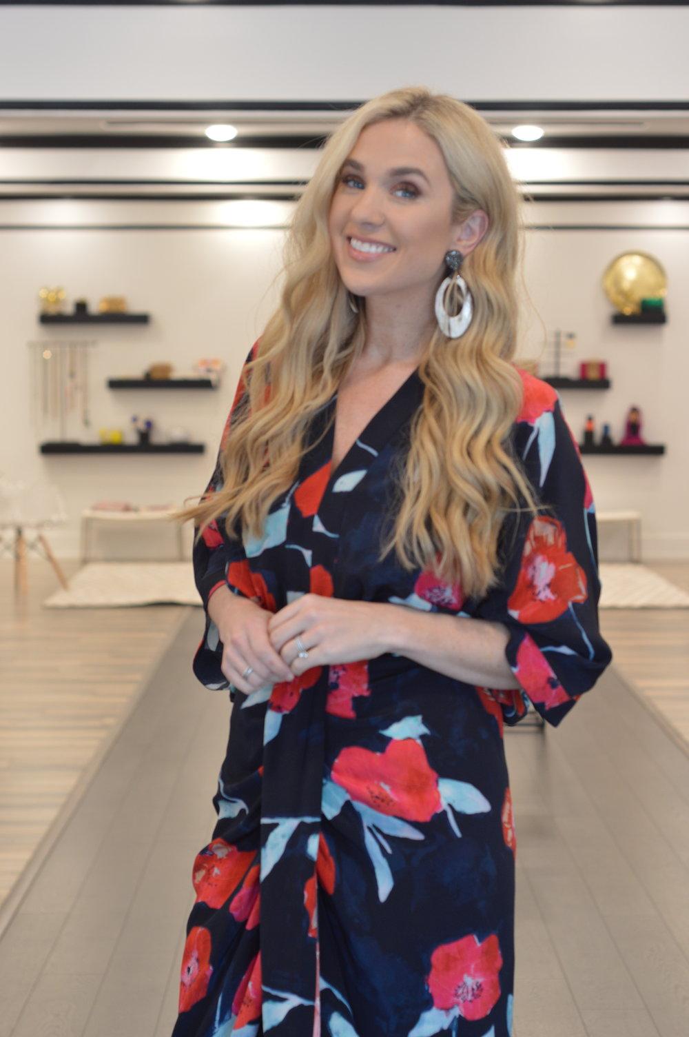 Go by GoSilk Kimono $550. Earring $210
