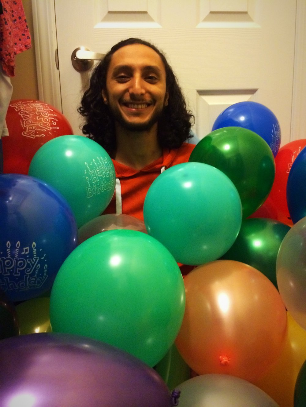 It a tradition. On his birthday I fill the closet with balloon and hide in it
