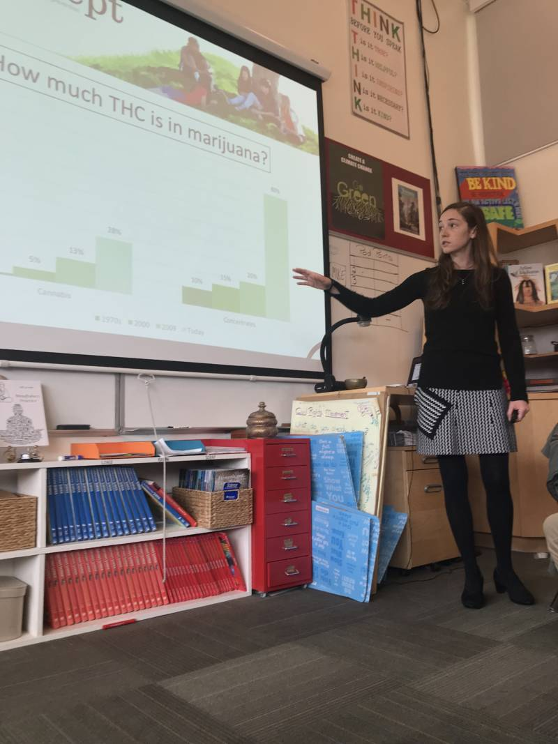 Ashley Brady explains the increase over time in marijuana potency to a class of eighth-graders at Marin Primary and Secondary School in Larkspur. (KQED/Carrie Feibel)