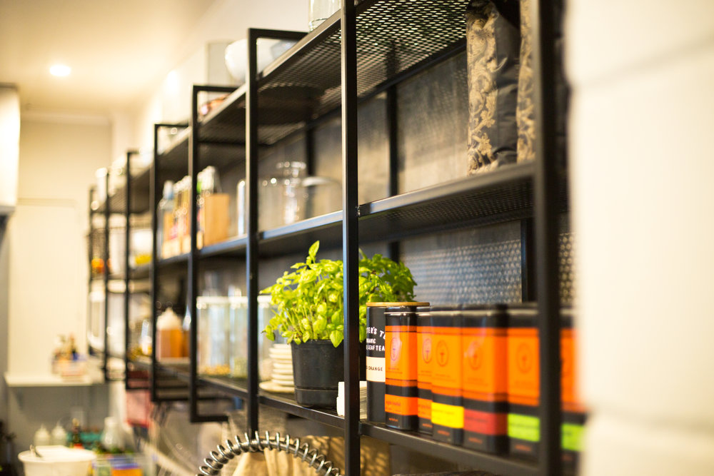 GeorgeCafe - Our friends at George Cafe needed a shelving system to store their stuff. We designed and built them this.