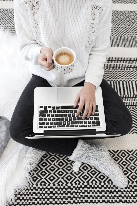 Cozy laptop coffee